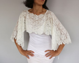 Bridal Cover up, Cream Lace Shrug, Evening Poncho, Ivory Capelet, Lace Top Wedding Cape, Romantic, Shabby Chic