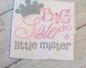Big Sister to a Little Mister Shirt in Baby Pink and Silver Sparkle--Pregnancy Announcement--Embroidered shirt or Bodysuit