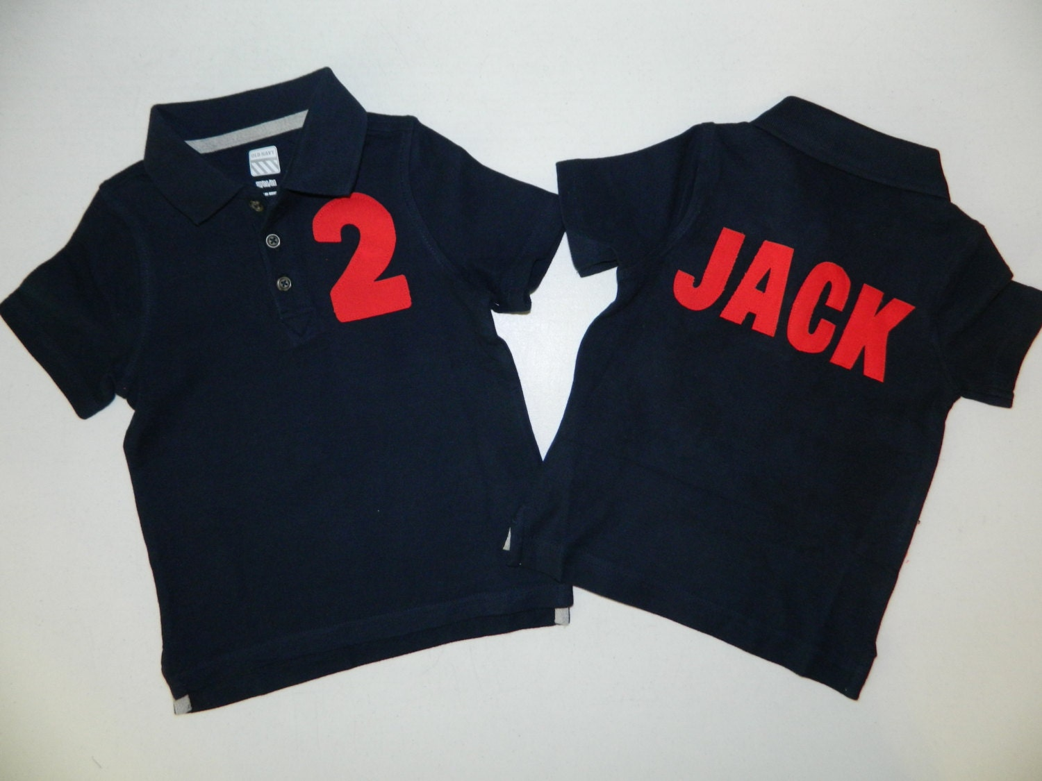 Design your own t-shirt front and back - Front And Back Boy Toddler Navy Polo Shirt With Red Personalized Birthday Number Name On Back Appliques