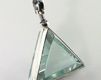 Sterling Silver Clear Glass Triangle Locket/Pendant - Memory Keepsake, Photo Locket, Locket, Photo Keepsake, Memory Gift