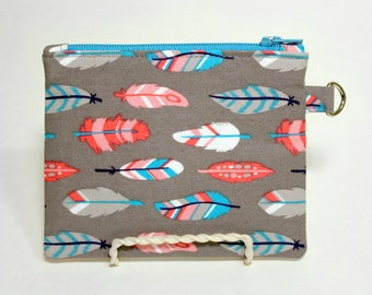 Grey Feathers Small Zipper Pouch