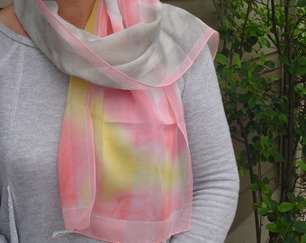 Neck Scarf, Long Neck Scarf, Made in Italy Neck Scarf, Ladies Neck Scarf, 100% Polyester Fabric, Ladies Accessory, Pink,Yellow, Gray Stripes