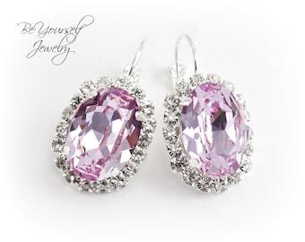 Wedding Jewelry Light Purple Bridal Earrings Swarovski Crystal Violet Bride Earrings Lilac Lavender Wedding Earrings Pastel Bridesmaid Gift