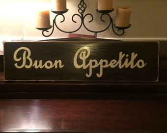 XL Buon Appetito Italian Dining Room Kitchen Food Italy Sign Plaque Country Chic Rustic Farmhouse You Pick Color Wooden Hand Painted