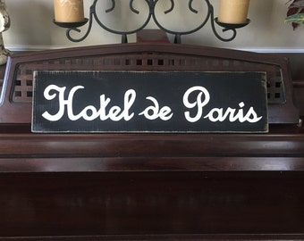 HOTEL de PARIS French Country Sign Plaque Wall Decor Apartment Chic Wooden You Pick from 10+ Colors Hand Painted