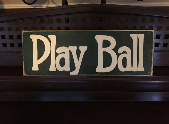 PLAY BALL Baseball Ballgame Sign Decor Boys Room Hand Painted Wooden You Pick Color