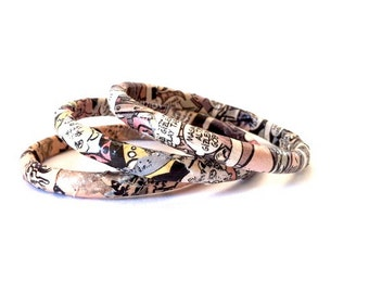 Paper bangle set, upcycled paper jewelry, geeky bracelet, paper jewelry, skinny bangle set of 3, funky jewelry, illustration jewelry, quirky