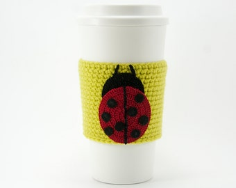 Ladybug Coffee Cozy, crocheted, red and black, spring green cozy, chartreuse sleeve