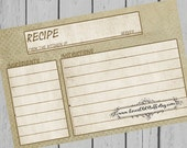 Rustic Recipe Card 4x6 Neutral Blank Recipe Card 3 Sizes 3x5 Recipe Cards 3.5x5 Grunge Blue Dot Canvas