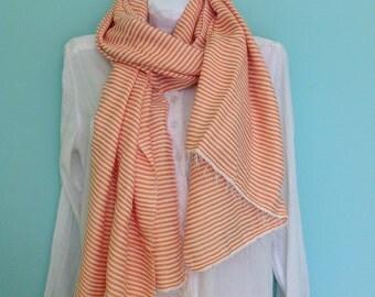 Orange cotton Scarf-striped Orange & White Cotton Scarf - Men Women Ethiopian Handwoven ticking Stripe fringed Scarf- Echarpe
