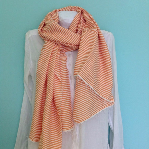 Orange cotton Scarf-striped Orange & White Cotton Scarf - Men Women Ethiopian Handwoven ticking Stripe fringed Scarf- Echarpe