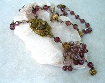 Vintage Art Deco Necklace Purple Glass Bead Tassel Filigree Brass Lavalier