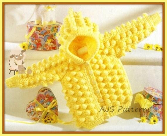 Knitting Popcorn Stitch Pattern : PDF Knitting/Crochet Pattern for an Aran Popcorn Stitch Hooded