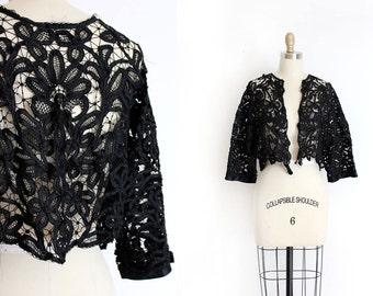 antique Victorian lace jacket // 1890s black batten lace top