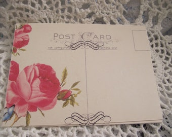 Post Card With Design And Roses  Shabby Chic  Style