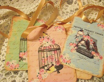 Birds And Bird Cages Shabby Chic Style Gift Tags Scrap Booking  Book Mark Thank You Tags