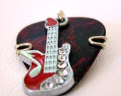 Red Guitar Pick Charm with Rhinestones and red Guitar