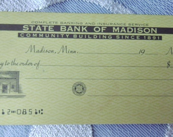 Counter Checks Vintage State Bank of Madison Minn MN Blank Unused
