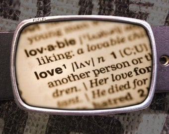 Love Belt Buckle, Dictionary Buckle, Shabby Chic 547