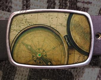 Vintage Compass Belt Buckle, Nautical Buckle, Steampunk Style 567