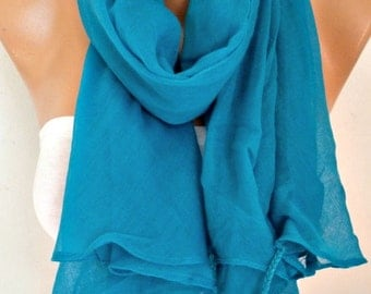 Teal Cotton Tassel Scarf, Shawl,Spring Summer Scarf, Cowl Oversized Wrap Gift Ideas For Her Women Fashion Accessories Bridesmaid Gift