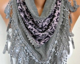 Knitted Scarf Shawl Cowl Lace Bridesmaid Gift  Bridal Scarf, Wedding Scarf,Gift Ideas For Her Women Fashion Accessories Women Scarves