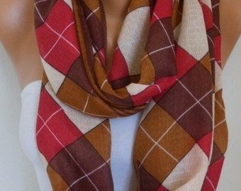 Plaid Cotton Infinity Scarf Teacher Gift Fall Scarf Cowl Circle Loop Oversized Gift Ideas For Her Women Fashion Accessories
