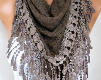 Knitted Scarf Shawl Cowl Lace Oversized Wrap Bridesmaid Gift Bridal Accessories Gift Ideas For Her Women Fashion Accessories Scarves
