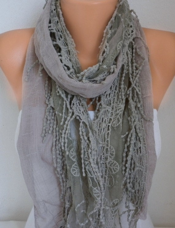 Gray Linen Fringe Scarf Spring Summer Shawl Cotton Cowl Gift Ideas for her Women Fashion Accessories Scarves