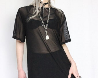 Shade sheer powermesh t-shirt with curved hem