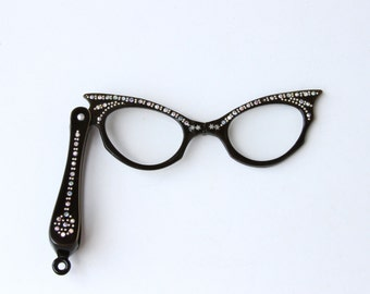 SALE Vintage Cat Eye Glasses with Rhinestones - Folding Opera Glasses with Irisescent Rhinestones
