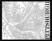 Pittsburgh Map - Street Map Vintage Print Poster Title