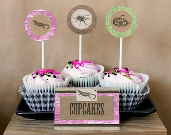 Reptile Girl Party Circles/Cupcake Toppers - INSTANT DOWNLOAD - Editable & Printable Birthday Decorations by Sassaby