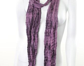 iced plum mauve purple pure pleated silk Scarf wrap shawl
