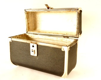 Vintage Black Train Case / Hardsided Purse with Clear Handle (c.1940s) - Collectible, Unique Purse or Storage Case