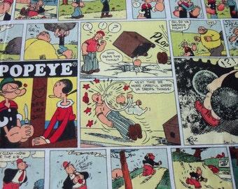 Popeye Fabric Comic Strip By The Fat Quarter BTFQ New