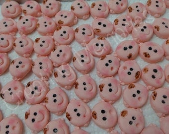 36 Fondant baby faces for mini  Cupcake or cake-pops. Sugar, Fondant, Gumpste edible cupcake decorations great for baby shower, boy or girl