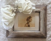 Picture Frame Rustic Wedding Bow Jewel Neutral Ivory Diamond Bling Personalize