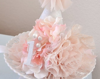 Girl's Shabby Chic Primrose Birthday Party Hat, Shabby Chic Birthday, Party Hat,