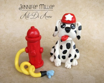 Flint the Fireman Dalmatian Puppy Dog Birthday or Baby Shower Animal Clay Cake Topper or Figurine with Fire Hydrant