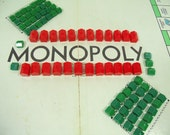 Vintage Plastic Red Hotels & Green Houses from Parker Brothers Monopoly Games Collection of 80 Miniature Game Equipment Pieces to Repurpose