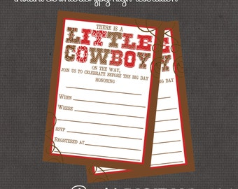 Little Cowboy Party Package- Invitation plus 4 add ons -digital you print your own - INSTANT DOWNLOAD