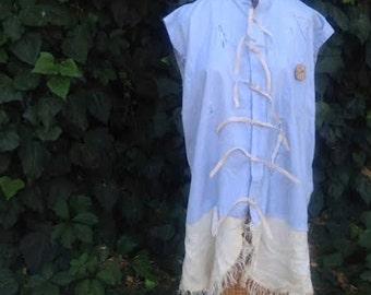 SALE Texas boho gypsy magnolia blue pearl tattered linen funky gypsy prairie chambray light blue linen ooak ecru shabby farm rustic shirt