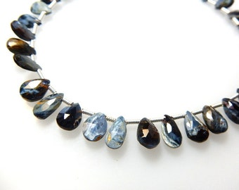 Pietersite Gemstone Faceted Briolette Pear Size - 6x8MM  Sold 8'' Strands AAA Quality 100% Natural