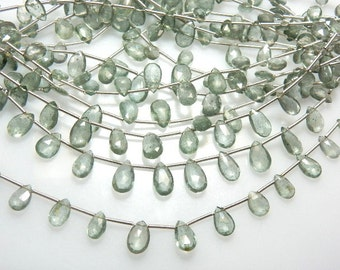 Moss Aqua  Briolette Faceted Pear Drops Gemstone 5 Strands 8 inches  AAA High Quality  size-4x6 - 6x12mm approx Wholesale Price