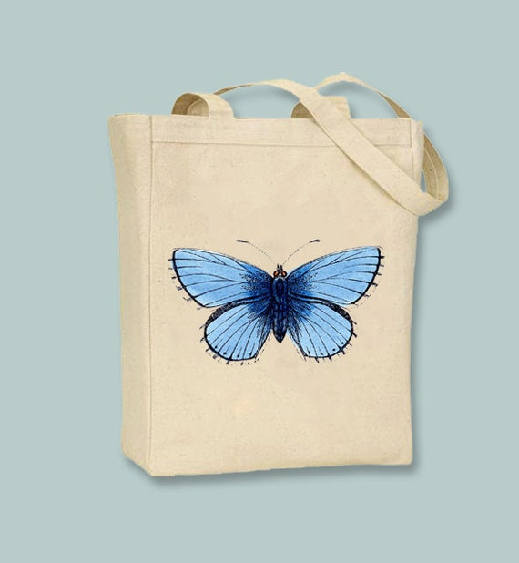 Beautiful Vintage Blue Butterfly Canvas Tote  - Selection of sizes and personalization available