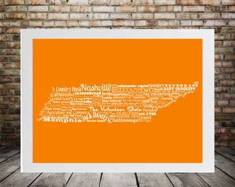 Tennessee State Word Art Typography Print The Volunteer State Tennessee State Pride