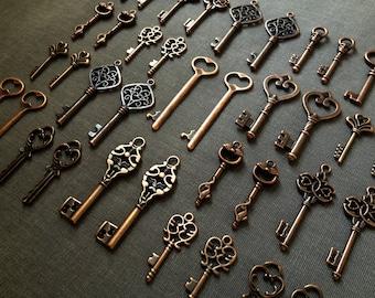 Keys to the Kingdom - Skeleton Keys - 75 x Vintage Keys Antique Copper Skeleton Key Skeleton Keys Set