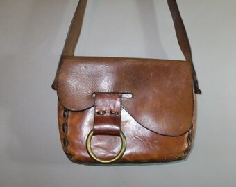 1960-70's  Purse / Handmade Leather Bag // Shoulder Strap // Brass Ring Closure