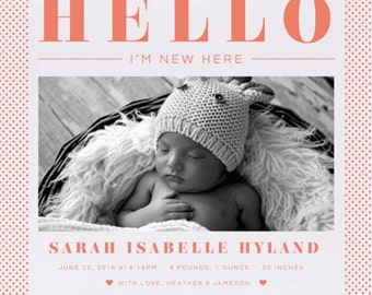 New kid in town Birth Announcement